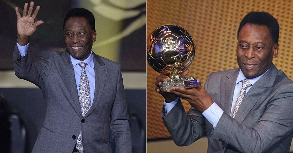 13.jan.2014 - Pelé participou da Bola de Ouro Fifa 2013 e ainda foi homenageado pela entidade, que lhe concedeu uma Bola honorária