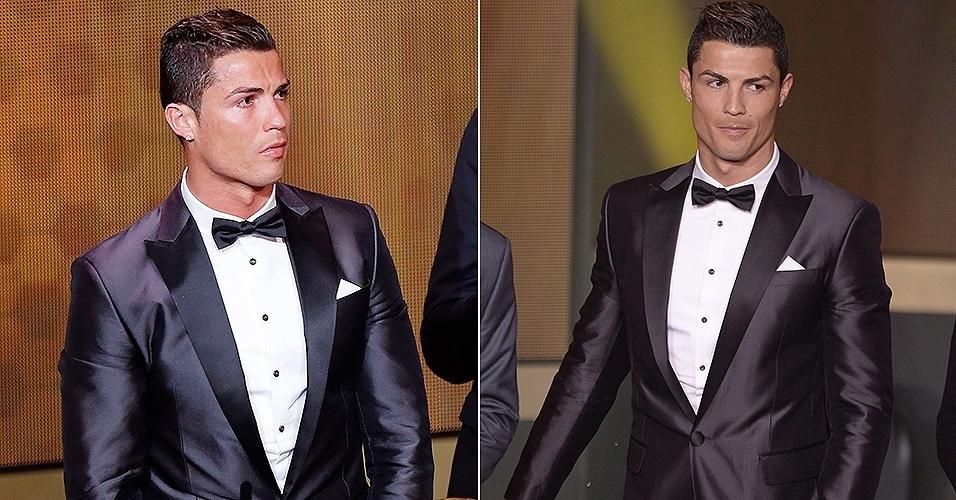 13.jan.2014 - Cristiano Ronaldo participa do prêmio Bola de Ouro Fifa 2013; o português foi o grande nome da noite, conquistando o troféu pela segunda vez na carreira