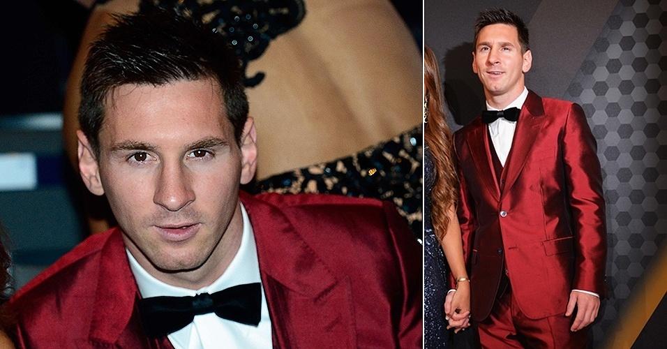 13.jan.2014 - Lionel Messi chega para a premiação Bola de Ouro 2013; melhor jogador do mundo por quatro anos seguidos, o argentino desta vez perdeu para Cristiano Ronaldo