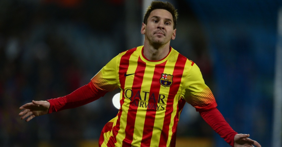 16.jan.2014 - Argentino Messi comemora seu segundo gol diante do Getafe em jogo válido pelas oitavas da Copa do Rei