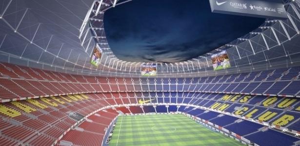 Imagem mostra como ficará o estádio Camp Nou, do Barcelona, após a reforma anunciada pelo clube