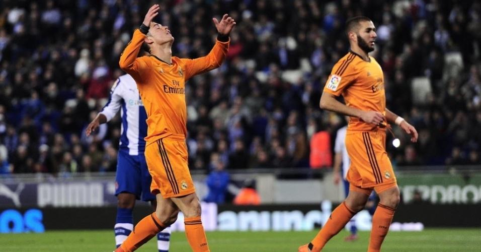 21. jan. 2014 - Cristiano Ronaldo ao lado de Benzema durante partida do Real Madrid contra o Espanyol, pela Copa do Rei