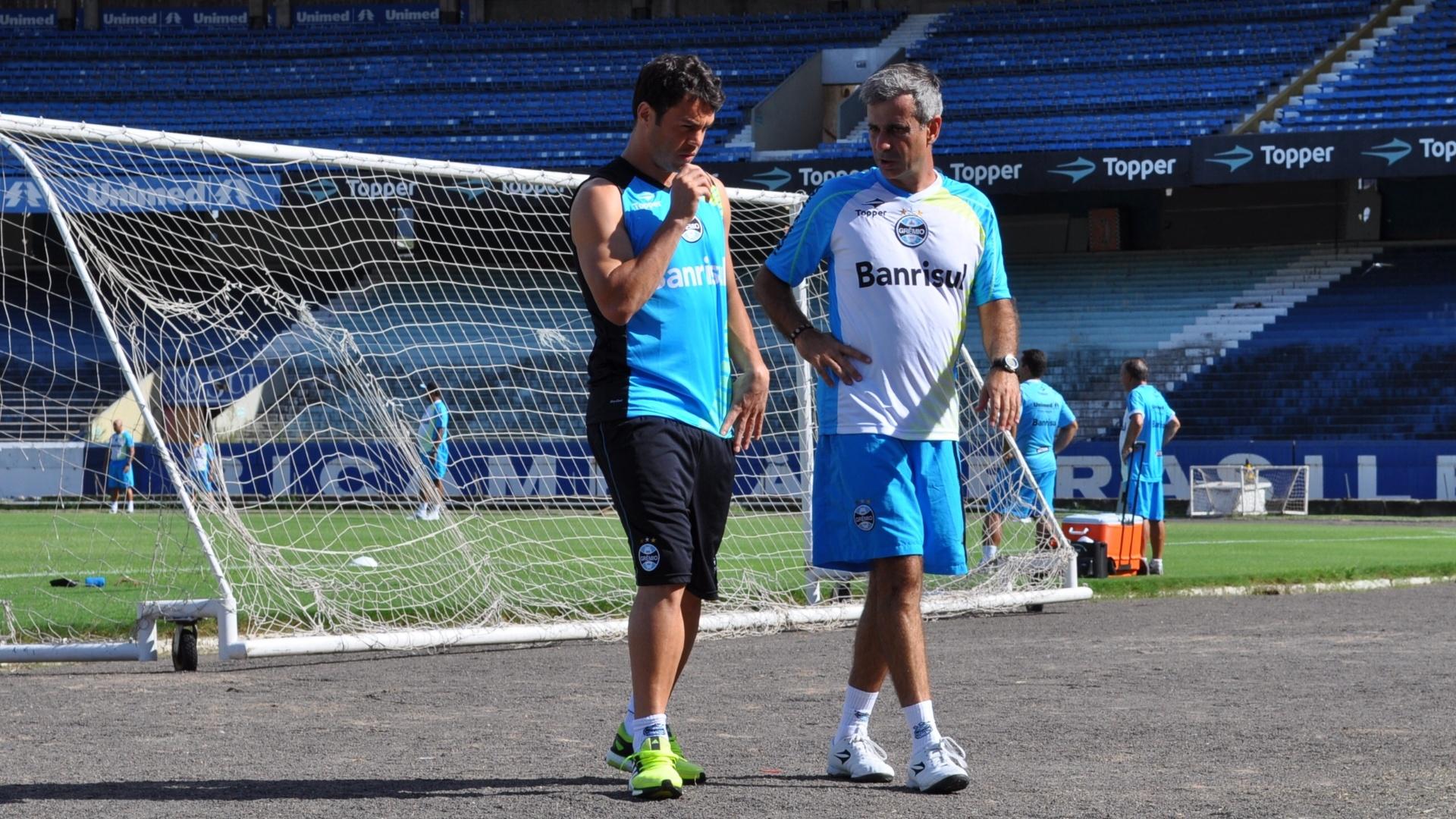 24 jan 2014 - Kleber conversa com preparador físico do Grêmio Fábio Mahseredjian