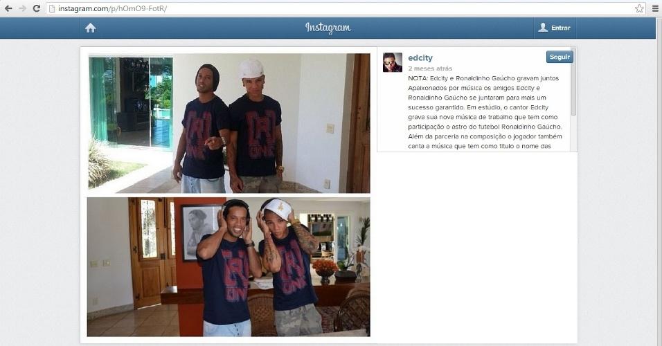 27 jan 2014 - Ronaldinho Gaúcho e o parceiro Edcity, que gravaram um clipe que em 20 horas teve 400 mil acessos no Youtube