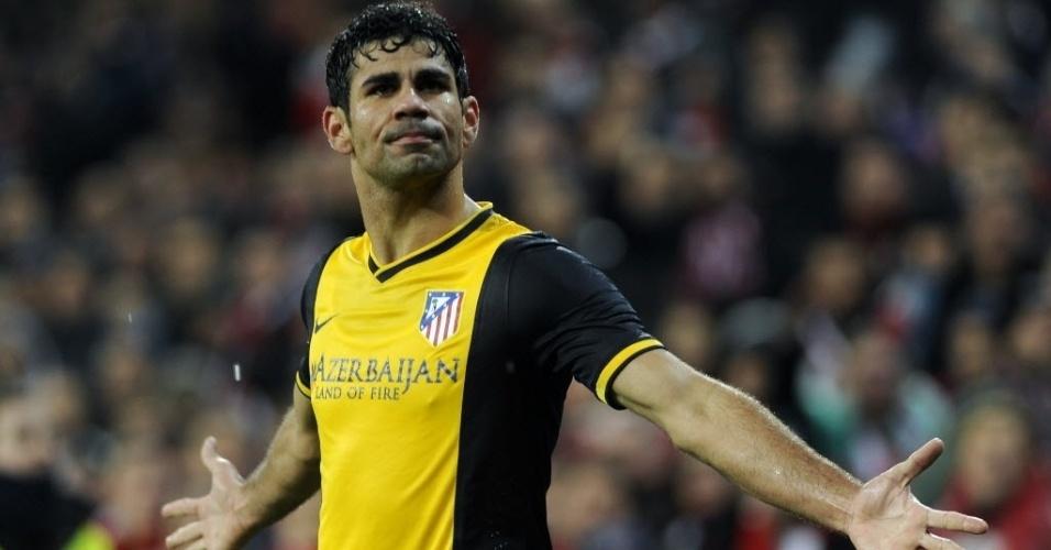 29. jan. 2014 - Diego Costa comemora segundo gol do Atlético de Madri contra o Athletic Bilbao em partida pela Copa do Rei