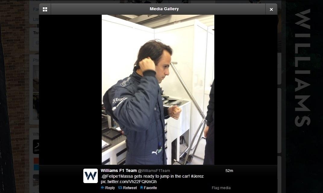 30.jan.2014 - Massa acerta últimos detalhes para as voltas iniciais com a Williams em Jerez