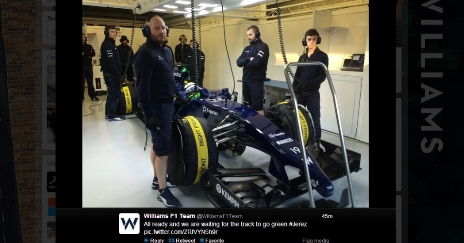 30.jan.2014 - Massa aguarda sinal verde para deixar os boxes da Williams em Jerez de la Frontera