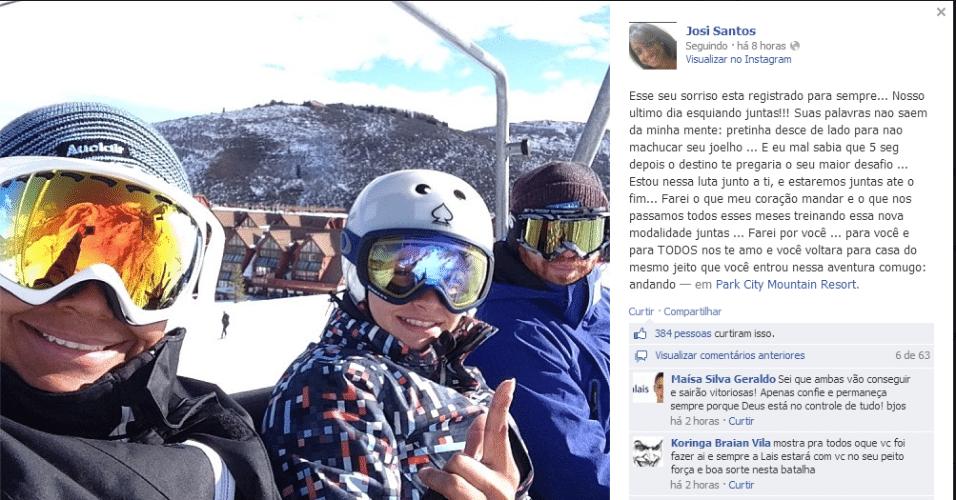 31.01.14 - Josi Santos publica foto tirada ao lado de Lais Souza pouco antes do acidente da atleta