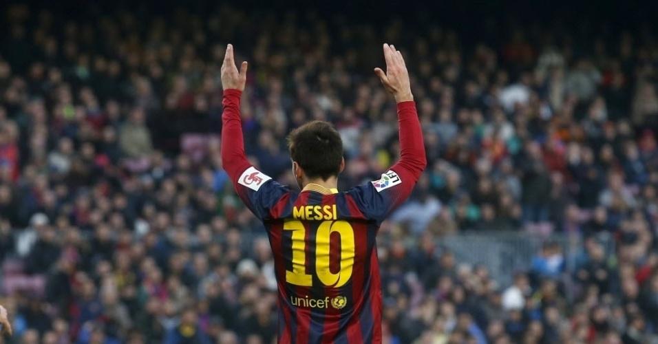 01.fev.2014 - Estrela do Barcelona, Messi lamenta na derrota para o Valencia por 3 a 2, no Camp Nou