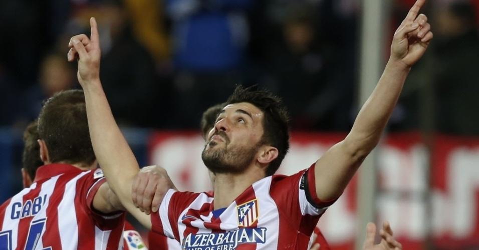 02.fev.2014 - Depois de reclamar, Villa comemora gol do Atlético de Madri contra o Real Sociedad, pelo Campeonato Espanhol