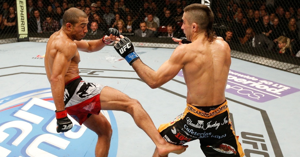 José Aldo apostou nos chutes baixos, uma de suas principais armas, para dominar Ricardo Lamas e defender pela sexta vez o cinturão do UFC