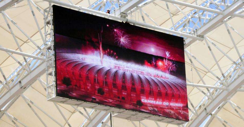 Telão do reforma estádio Beira-Rio é testado (30/01/2014)