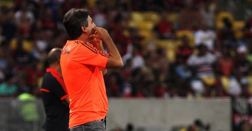 08.fev.2014 - Técnico Renato Gaúcho passa instruções para seus jogadores durante o clássico contra o Flamengo
