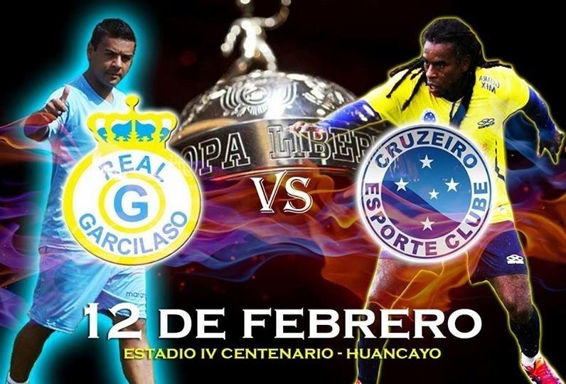 10 fev 2014 - Real Garcilaso usa a imagem de Tinga, reserva do Cruzeiro, para atrair público ao jogo em Huancayo
