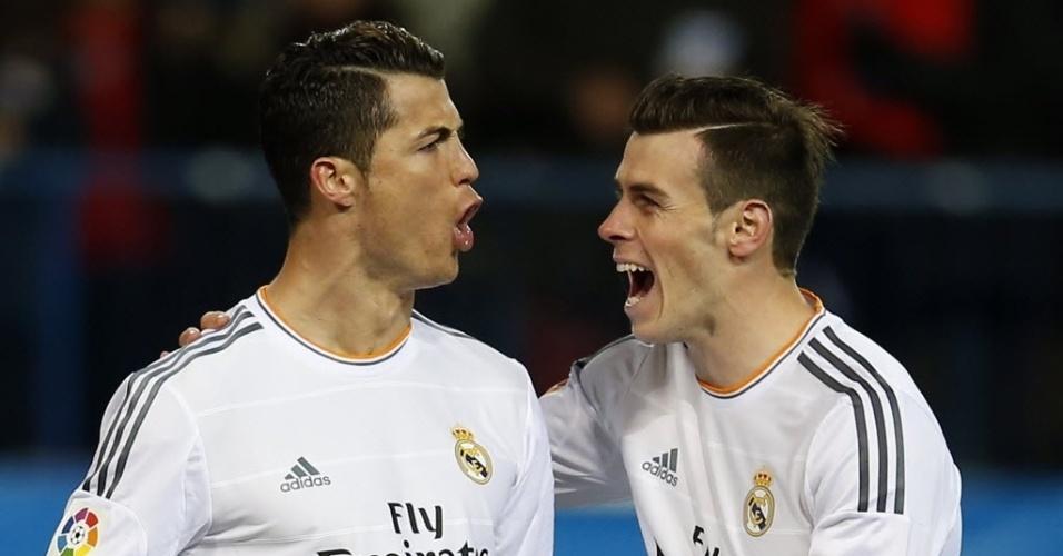 11.02.2014 - Cristiano Ronaldo comemora gol marcado pelo Real contra o Atlético de Madri, pela Copa do Rei