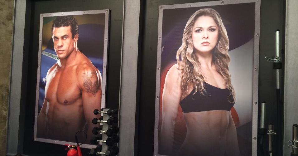 Grandes nomes do UFC aparecem em toda a parte na decoração da academia, como Vitor Belfort e Ronda Rousey