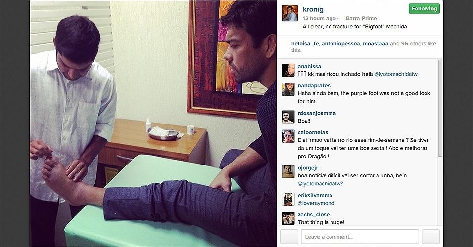 Lyoto Machida passou por exames e foi constatado que ele não sofreu nenhuma fratura no pé esquerdo, apesar do inchaço no local. Ele contou que sofreu a lesão ao dar um chute no joelho de Gegard Mousasi no terceiro round do combate no UFC Jaraguá