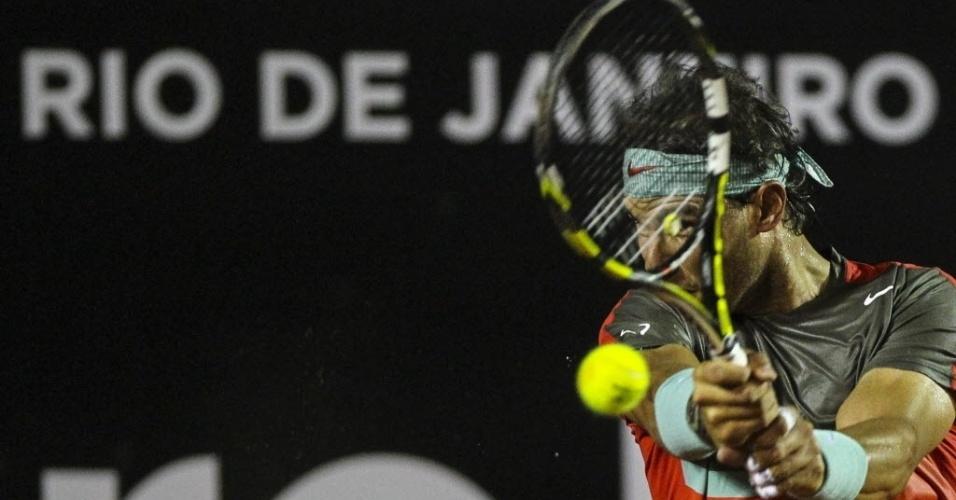 20.fev.2014 - Rafael Nadal encarou Albert Montañes em seu segundo duelo no Aberto do Rio