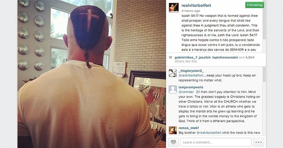 Vitor Belfort apresenta novo corte de cabelo que mistura moicano, cruz e rabinho. Lutador está se preparando para a disputa do cinturão do médios do UFC contra Chris Weidman em maio