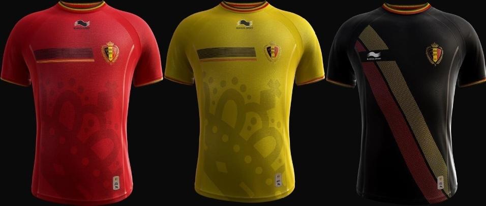 Bélgica terá três uniformes para a Copa do Mundo; cada um deles representa uma das cores da bandeira do país