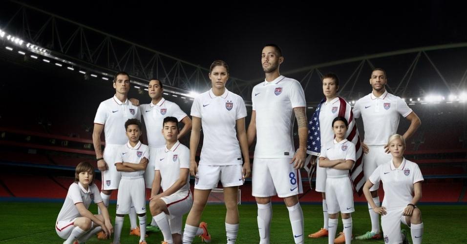 04.03.14 - Camisa titular da seleção dos Estados Unidos para a Copa de 2014 é branca, estilo polo, com detalhes em azul e vermelho e pequenas listras cinzas horizontais. Ela chega às lojas americanas por US$ 150 (cerca de R$ 350)
