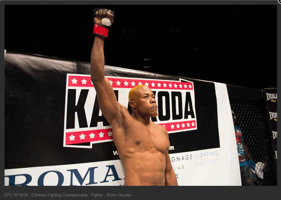 Lutador sul-africano Booto Guylain, de 29 anos, que morreu após sofrer uma lesão em um combate de MMA em 27 de fevereiro de 2014