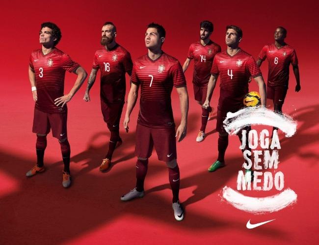 """Portugal oficializa uniforme de sua seleção para a Copa do Mundo com o lema """"Joga sem medo"""""""