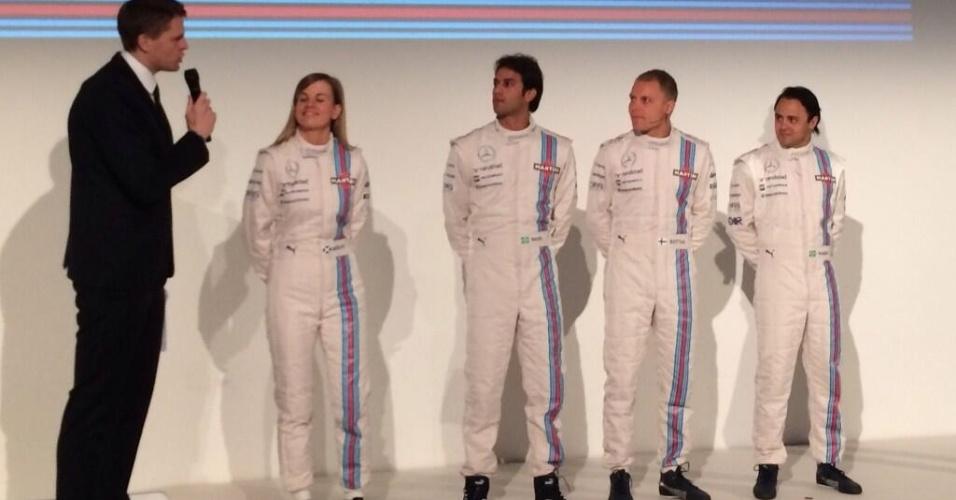 Williams apresenta sua equipe de pilotos para 2014: Susie Wolff (piloto reserva), Felipe Nasr (piloto de testes), Valtteri Bottas e Felipe Massa