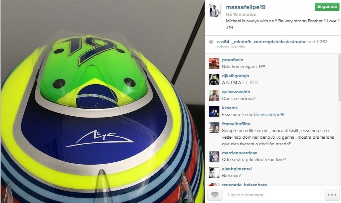 Felipe Massa presta homenagem para Michael Schumacher no capacete