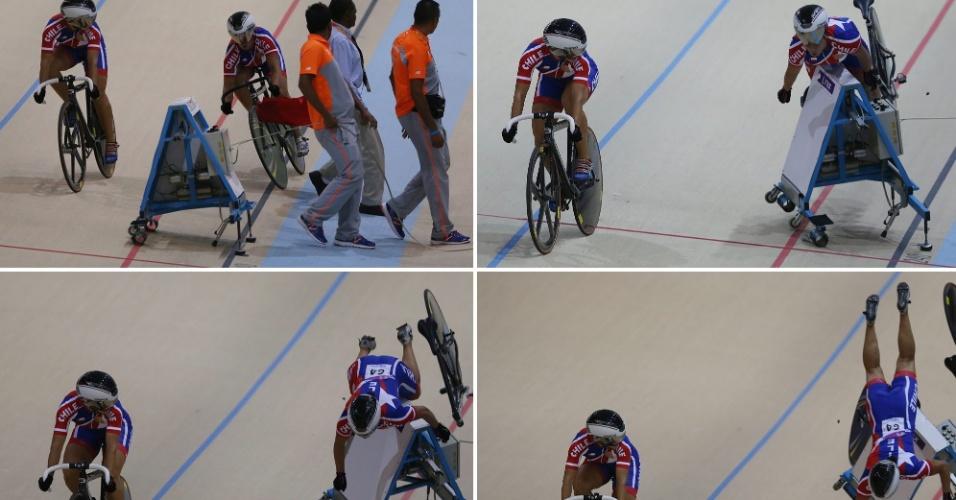 12.03.14 - Sequência de fotos mostra a queda da ciclista chilena Irene Aravena, que se chocou com um partidor durante prova dos Jogos Sul-Americanos
