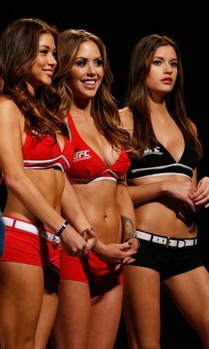 14.03.14 - Arianny Celeste, Brittney Palmer e Vanessa Hanson estiveram presentes na pesagem do UFC 171