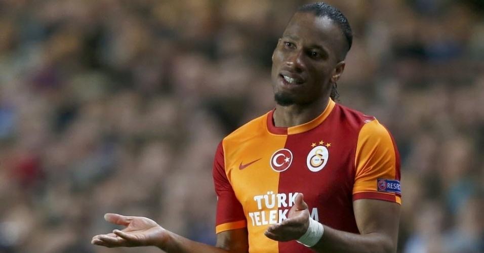 18.mar.2014 - Drogba lamenta chance perdida na partida entre Chelsea e Galatasaray pelas oitavas de final da Liga dos Campeões