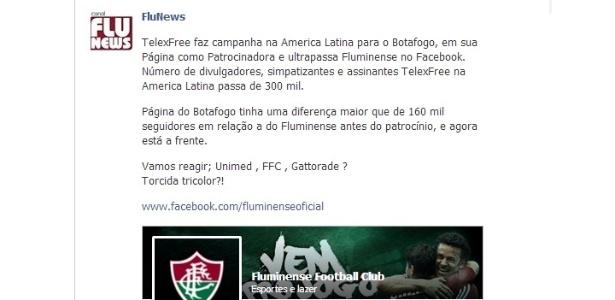Botafogo passou Fluminense em página oficial do Facebook, mas sobrou para a TelexFree
