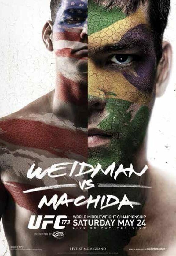 19.mar.2014 - Weidman e Lyoto Machida posam com o rosto pintado com as bandeiras de EUA e Brasil e aumentam rivalidade para o UFC 173