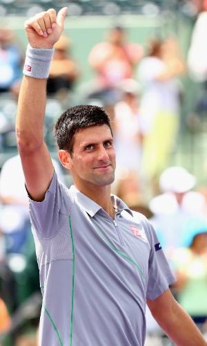 25.mar.2014 - Novak Djokovic comemora vitória sobre Tommy Robredo