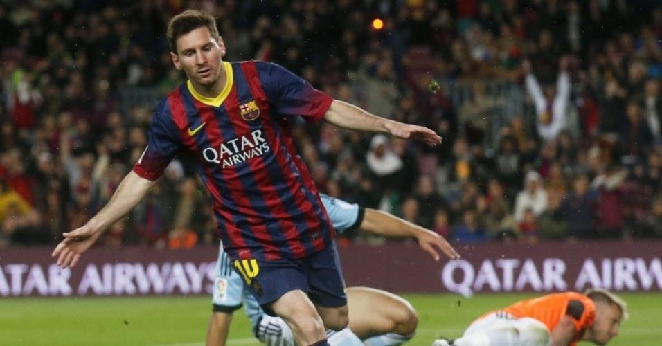 26.mar.2014 - Messi comemora após marcar para o Barcelona na partida contra o Celta pelo Campeonato Espanhol