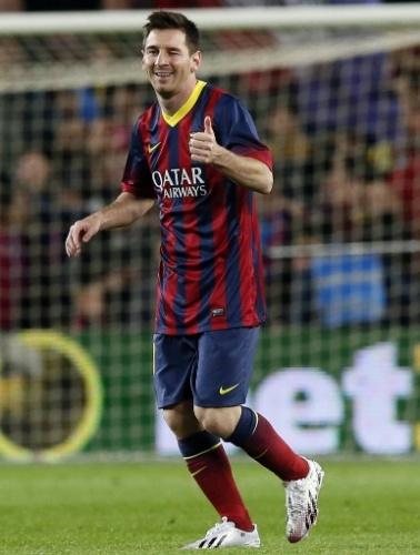 26.MAR.2014 - Messi dá uma piscadinha para a torcida após marcar o segundo gol do Barcelona na partida contra o Celta pelo Campeonato Espanhol