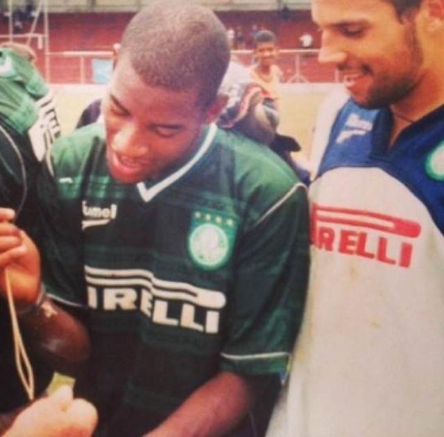 Edmilson e Diego Cavalieri nos tempos de Palmeiras