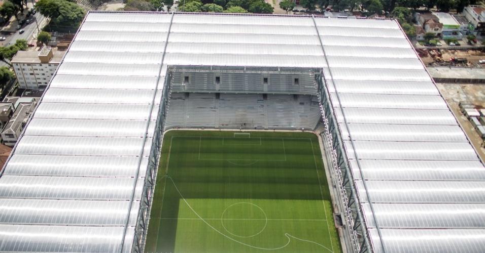 20.mar.2014 - Vista aérea da Arena da Baixada, em Curitiba