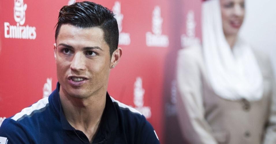 Cristiano Ronaldo durante evento no qual foi nomeado o novo embaixador da companhia aérea Fly Emirates