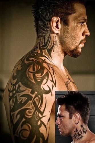 Renato Sobral, o Babalu, passou pelo UFC e, além dos resultados, fez fama com suas tatuagens, entre elas um tribal que sobe do braço para o ombro e pescoço. O pescoço - lugar considerado ousado para se tatuar - ainda tem outra inscrição do outro lado