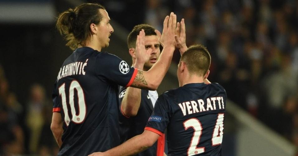 02.abr.2014 - Jogadores do PSG comemoram após o brasileiro David Luiz marcar gol contra no duelo das quartas da Liga dos Campeões
