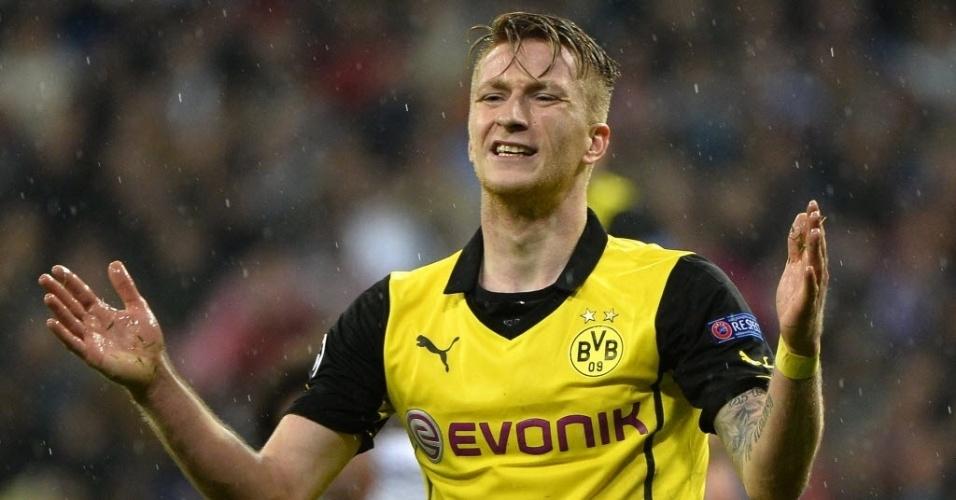 02.abr.2014 - Marco Reus lamenta gol perdido para o Borussia Dortmund contra o Real Madrid pela Liga dos Campeões