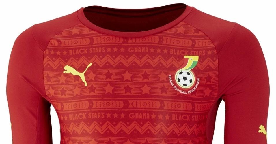 Segundo uniforme de Gana que será usado na Copa do Mundo