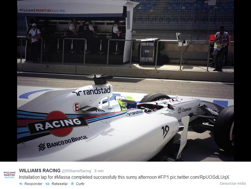 04.04.14 - Felipe Massa deixa boxes da Williams para volta de instalação de seu carro