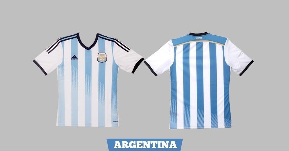Argentina - camisa azul e branca