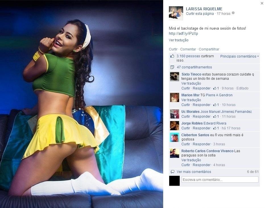 05.04.2014 - Larissa Riquelme fez ensaio sensual para marca de artigos eróticos com as cores do Brasil