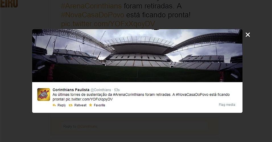Últimas torres de sustentação do Itaquerão são retiradas. Agora, a cobertura das arquibancadas norte e sul do novo estádio do Corinthians não tem qualquer tipo de obstrução para a visão.