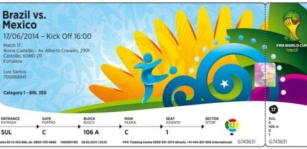 Imagem acima serve de modelo para ingressos do Mundial de 2014