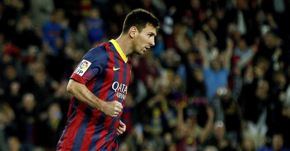20. abr. 2014 - Messi marca pelo Barcelona contra o Athletic Bilbao e salva a equipe da derrota